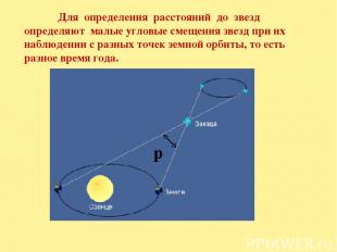 Для определения расстояний до звезд определяют малые угловые смещения звезд при