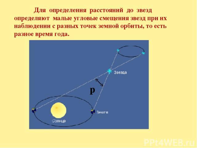 Для определения расстояний до звезд определяют малые угловые смещения звезд при их наблюдении с разных точек земной орбиты, то есть разное время года. p