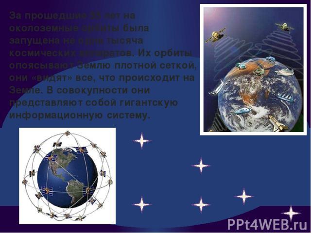 За прошедшие 55 лет на околоземные орбиты была запущена не одна тысяча космических аппаратов. Их орбиты опоясывают Землю плотной сеткой, они «видят» все, что происходит на Земле. В совокупности они представляют собой гигантскую информационную систему.