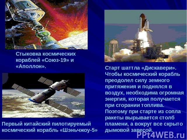 Первый китайский пилотируемый космический корабль «Шэньчжоу-5» Старт шаттла «Дискавери». Чтобы космический корабль преодолел силу земного притяжения и поднялся в воздух, необходима огромная энергия, которая получается при сгорании топлива. Поэтому п…