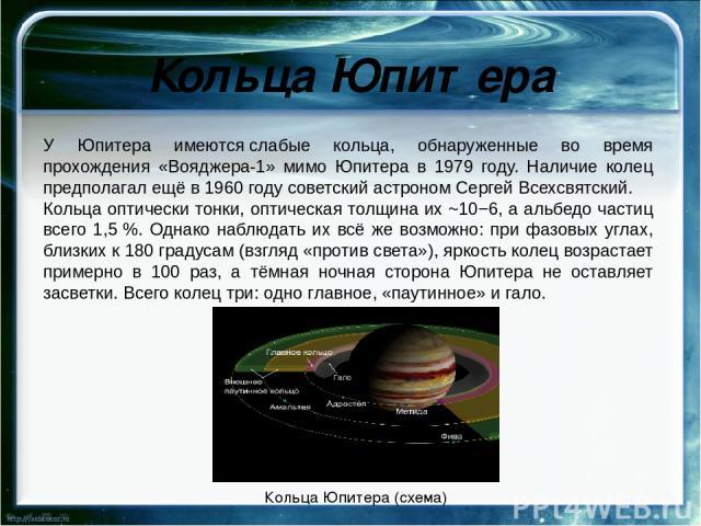 Кольца Юпитера У Юпитера имеютсяслабые кольца, обнаруженные во время прохождения «Вояджера-1» мимо Юпитера в 1979 году. Наличие колец предполагал ещё в 1960 году советский астрономСергейВсехсвятский. Кольца оптически тонки, оптическая толщина их …