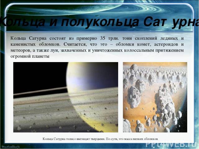 Интересные факты о Сатурне Последние 10 спутников Сатурна были найдены в течении 6 недель. Сообщение об открытии последних четырёх было опубликовано в начале декабря 2000 г в циркуляре Международного Астрономического союза. Они были обнаружены интер…