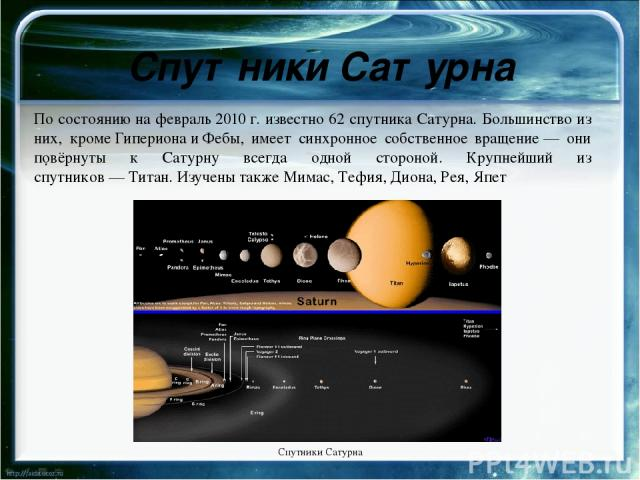 Орбита и вращение Урана Период полного обращения Урана вокруг Солнца составляет 84земных года. Большая полуось орбиты равна 3млрд км. Впервыеорбитальные элементы Урана были вычислены в1783 годуфранцузским астрономомПьером Симоном Лапласом. В1…