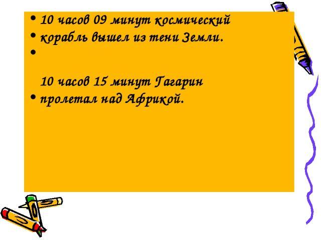 10 часов 09 минут космический корабль вышел из тени Земли. 10 часов 15 минут Гагарин пролетал над Африкой.
