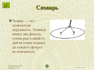 Габайдулина Л.И. Гимназия 1567 Словарь Эллипс — это сплюснутая окружность. Эллип