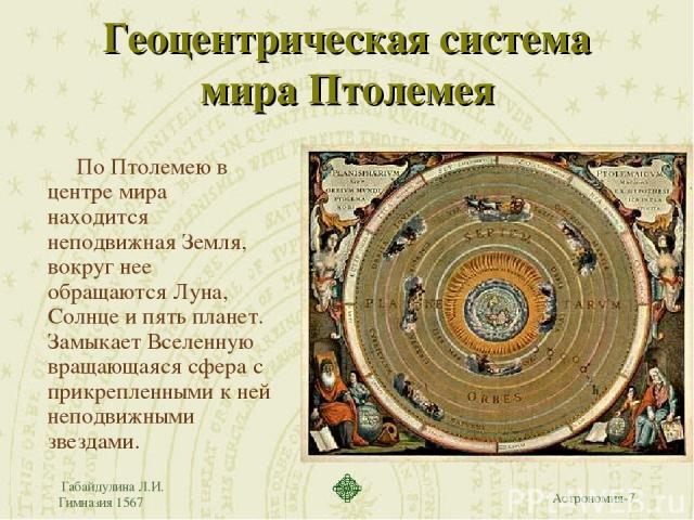 Габайдулина Л.И. Гимназия 1567 Геоцентрическая система мира Птолемея По Птолемею в центре мира находится неподвижная Земля, вокруг нее обращаются Луна, Солнце и пять планет. Замыкает Вселенную вращающаяся сфера с прикрепленными к ней неподвижными зв…