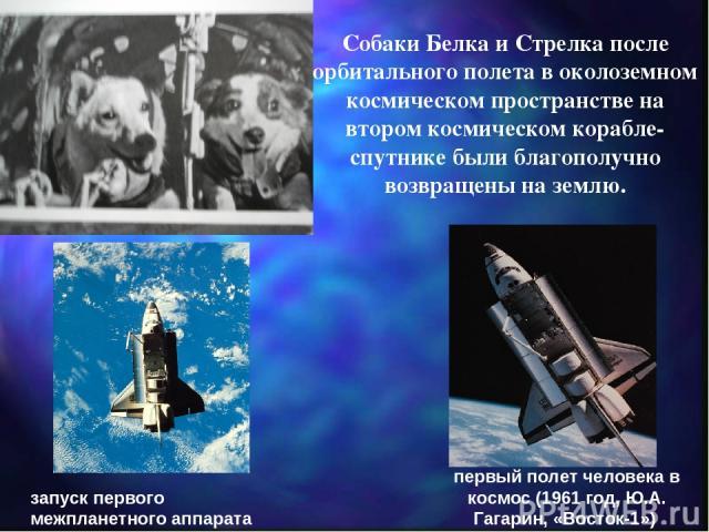 запуск первого межпланетного аппарата (1959 год, «Луна-1») первый полет человека в космос (1961 год, Ю.А. Гагарин, «Восток-1») Собаки Белка и Стрелка после орбитального полета в околоземном космическом пространстве на втором космическом корабле-спут…