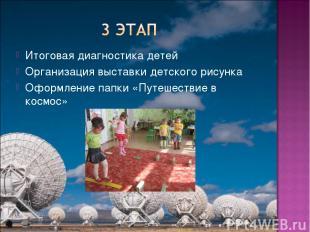 Итоговая диагностика детей Организация выставки детского рисунка Оформление папк