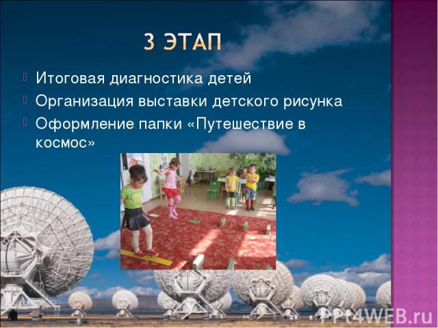 Итоговая диагностика детей Организация выставки детского рисунка Оформление папки «Путешествие в космос»