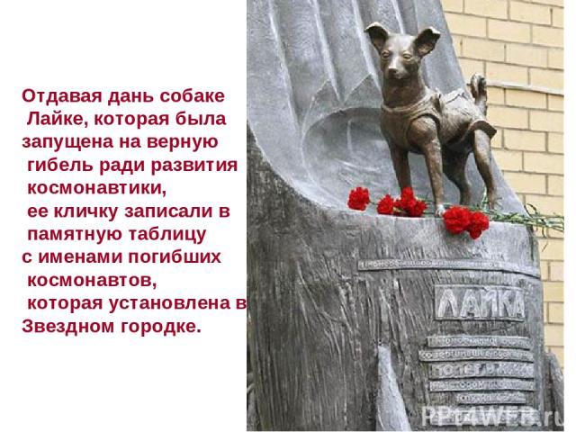 Отдавая дань собаке Лайке, которая была запущена на верную гибель ради развития космонавтики, ее кличку записали в памятную таблицу с именами погибших космонавтов, которая установлена в Звездном городке.