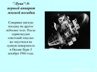 """Луна""-9: первый аппарат мягкой посадки Совершил мягкую посадку на другое небесн"