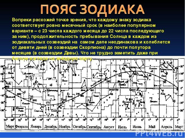 Вопреки расхожей точке зрения, что каждому знаку зодиака соответствует ровно месячный срок (в наиболее популярном варианте – с 23 числа каждого месяца до 22 числа последующего за ним), продолжительность пребывания Солнца в каждом из зодиакальных соз…