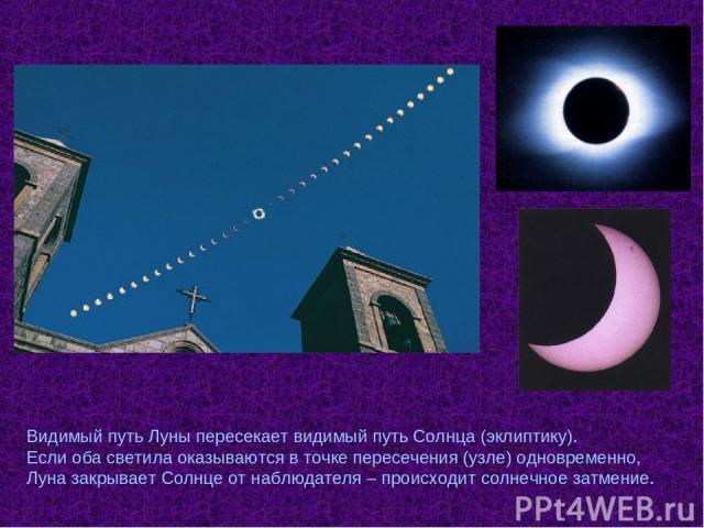 Видимый путь Луны пересекает видимый путь Солнца (эклиптику). Если оба светила оказываются в точке пересечения (узле) одновременно, Луна закрывает Солнце от наблюдателя – происходит солнечное затмение.