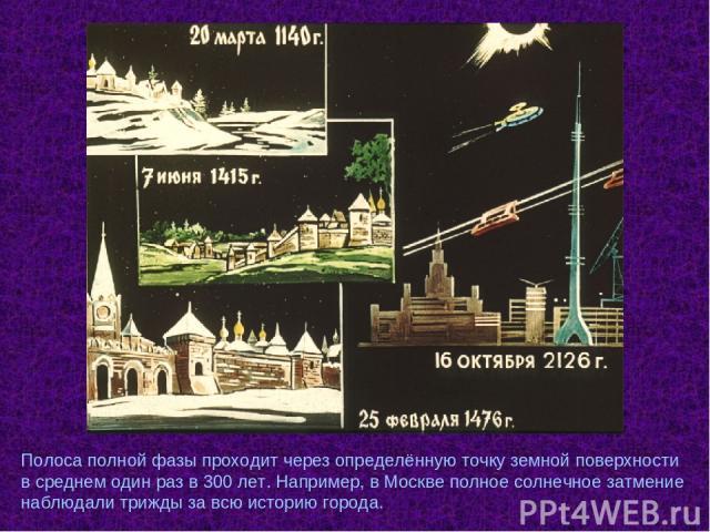 Полоса полной фазы проходит через определённую точку земной поверхности в среднем один раз в 300 лет. Например, в Москве полное солнечное затмение наблюдали трижды за всю историю города.