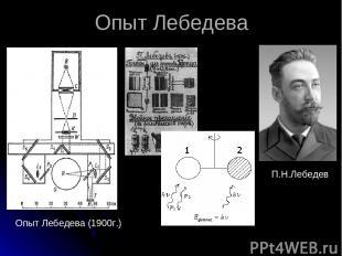 П.Н.Лебедев Опыт Лебедева (1900г.) Опыт Лебедева