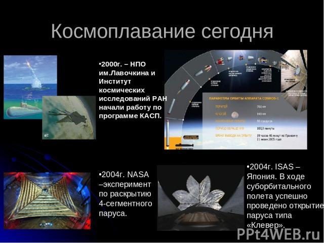 Космоплавание сегодня 2000г. – НПО им.Лавочкина и Институт космических исследований РАН начали работу по программе КАСП. 2004г. NASA –эксперимент по раскрытию 4-сегментного паруса. 2004г. ISAS –Япония. В ходе суборбитального полета успешно проведено…