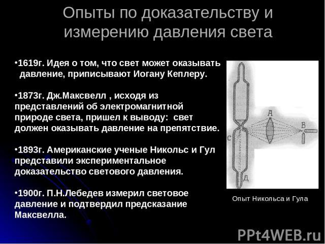 Опыты по доказательству и измерению давления света Опыт Никольса и Гула 1619г. Идея о том, что свет может оказывать давление, приписывают Иогану Кеплеру. 1873г. Дж.Максвелл , исходя из представлений об электромагнитной природе света, пришел к выводу…