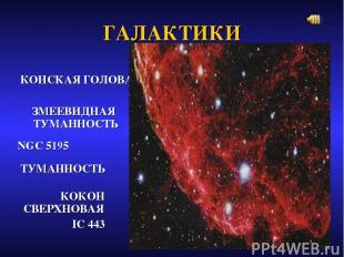 ГАЛАКТИКИ КОНСКАЯ ГОЛОВА ЗМЕЕВИДНАЯ ТУМАННОСТЬ NGC 5195 ТУМАННОСТЬ КОКОН СВЕРХНО