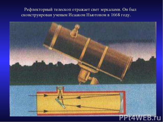 Рефлекторный телескоп отражает свет зеркалами. Он был сконструирован ученым Исааком Ньютоном в 1668 году.