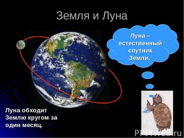 Земля и Луна Луна обходит Землю кругом за один месяц. Луна – естественный спутник Земли.