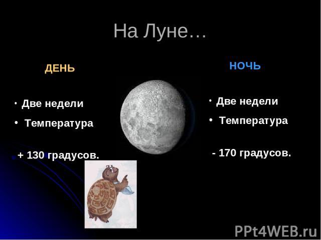 На Луне… ДЕНЬ НОЧЬ Две недели Температура + 130 градусов. Две недели Температура - 170 градусов.