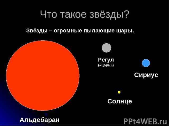 Что такое звёзды? Звёзды – огромные пылающие шары. Альдебаран Регул («царь») Сириус Солнце