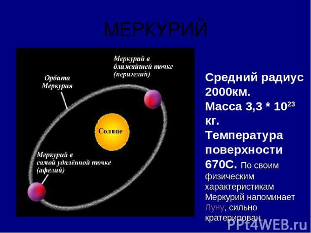 МЕРКУРИЙ Средний радиус 2000км. Масса 3,3 * 1023 кг. Температура поверхности 670С. По своим физическим характеристикам Меркурий напоминает Луну, сильно кратерирован.