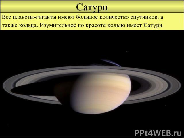 Сатурн Все планеты-гиганты имеют большое количество спутников, а также кольца. Изумительное по красоте кольцо имеет Сатурн.