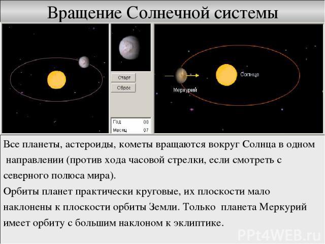 Вращение Солнечной системы Все планеты, астероиды, кометы вращаются вокруг Солнца в одном направлении (против хода часовой стрелки, если смотреть с северного полюса мира). Орбиты планет практически круговые, их плоскости мало наклонены к плоскости о…