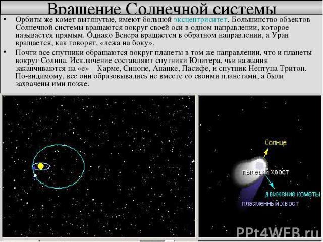 Вращение Солнечной системы Орбиты же комет вытянутые, имеют большой эксцентриситет. Большинство объектов Солнечной системы вращаются вокруг своей оси в одном направлении, которое называется прямым. Однако Венера вращается в обратном направлении, а У…
