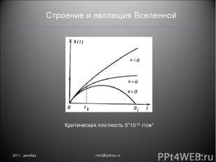 Строение и эволюция Вселенной 2011, декабрь * mez@petrsu.ru Критическая плотност