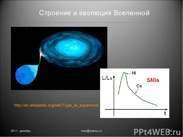 Строение и эволюция Вселенной 2011, декабрь * mez@petrsu.ru http://en.wikipedia.org/wiki/Type_Ia_supernova mez@petrsu.ru