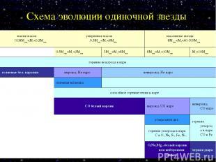 Схема эволюции одиночной звезды малые массы 0.08Msun
