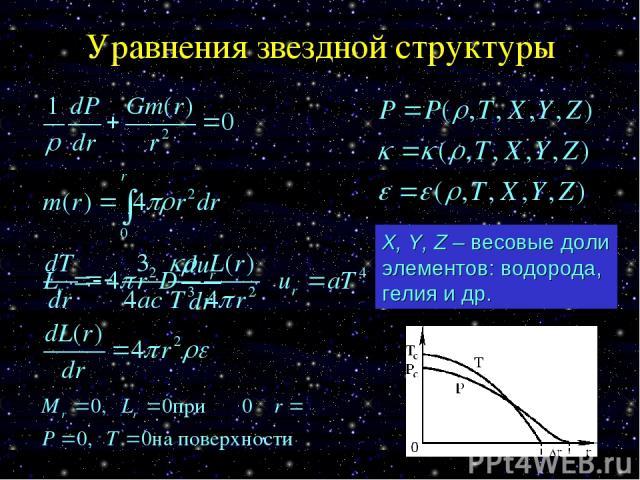 Уравнения звездной структуры X, Y, Z – весовые доли элементов: водорода, гелия и др.