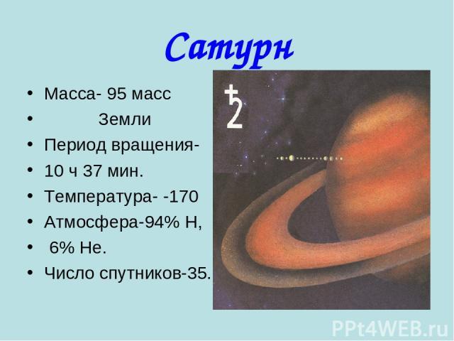 Сатурн Масса- 95 масс Земли Период вращения- 10 ч 37 мин. Температура- -170 Атмосфера-94% Н, 6% Не. Число спутников-35.