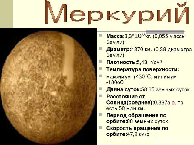 Macca:3,3*1023кг. (0,055 массы Земли) Диаметр:4870 км. (0,38 диаметра Земли) Плотность:5,43 г/см3 Температура поверхности: максимум +430°C, минимум -180oC Длина суток:58,65 земных суток Расстояние от Cолнца(среднее):0,387а.е.,то есть 58 млн.км. Пери…