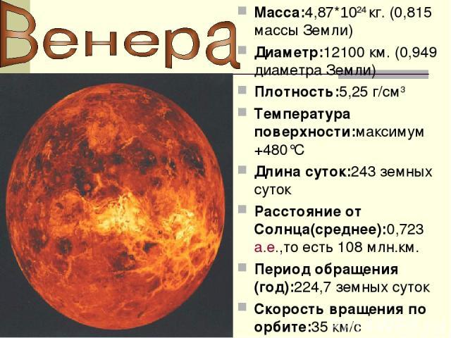 Macca:4,87*1024 кг. (0,815 массы Земли) Диаметр:12100 км. (0,949 диаметра Земли) Плотность:5,25 г/см3 Температура поверхности:максимум +480°C Длина суток:243 земных суток Расстояние от Cолнца(среднее):0,723а.е.,то есть 108 млн.км. Период обращения (…