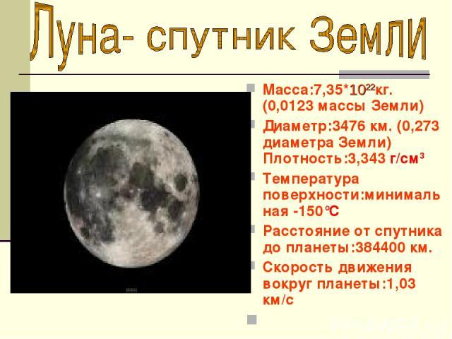Macca:7,35*1022кг. (0,0123 массы Земли) Диаметр:3476 км. (0,273 диаметра Земли) Плотность:3,343 г/см3 Температура поверхности:минимальная -150°C Расстояние от спутника до планеты:384400 км. Скорость движения вокруг планеты:1,03 км/с