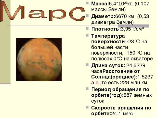 Macca:6,4*1023кг. (0,107 массы Земли) Диаметр:6670 км. (0,53 диаметра Земли) Плотность:3,95 г/см3 Температура поверхности:-23°C на большей части поверхности, -150 °C на полюсах,0°C на экваторе Длина суток: 24,6229 часаРасстояние от Cолнца(среднее):1…
