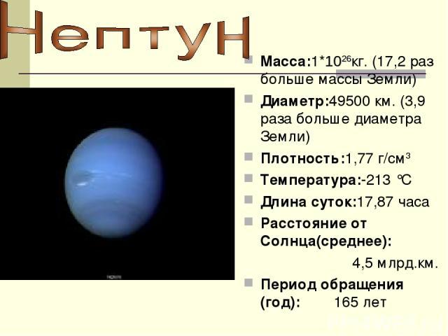 Macca:1*1026кг. (17,2 раз больше массы Земли) Диаметр:49500 км. (3,9 раза больше диаметра Земли) Плотность:1,77 г/см3 Температура:-213 °C Длина суток:17,87 часа Расстояние от Солнца(среднее): 4,5 млрд.км. Период обращения (год): 165 лет