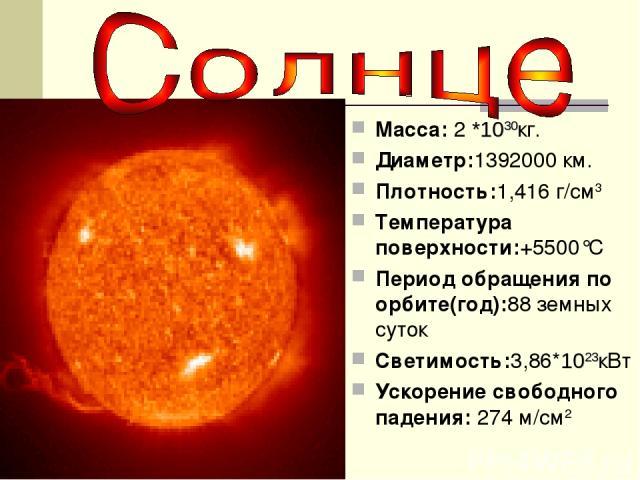 Macca: 2 *1030кг. Диаметр:1392000 км. Плотность:1,416 г/см3 Температура поверхности:+5500°C Период обращения по орбите(год):88 земных суток Светимость:3,86*1023кВт Ускорение свободного падения: 274 м/см2