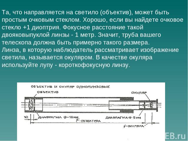 Та, что направляется на светило (объектив), может быть простым очковым стеклом. Хорошо, если вы найдете очковое стекло +1 диоптрия. Фокусное расстояние такой двояковыпуклой линзы - 1 метр. Значит, труба вашего телескопа должна быть примерно такого р…