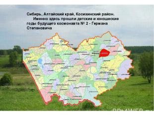Сибирь, Алтайский край, Косихинский район.    Именно здесь прошли детские и ю