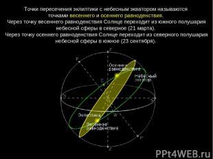 Точки пересечения эклиптики с небесным экватором называются точками весеннего и