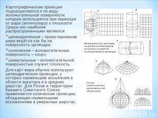 Картографические проекции подразделяются и по виду вспомогательной поверхности,