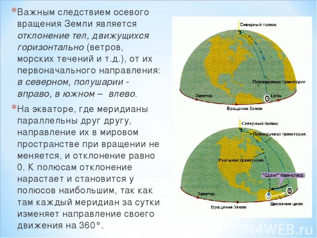 Важным следствием осевого вращения Земли является отклонение тел, движущихся горизонтально (ветров, морских течений и т.д.), от их первоначального направления: в северном, полушарии - вправо, в южном – влево. На экваторе, где меридианы параллельны д…