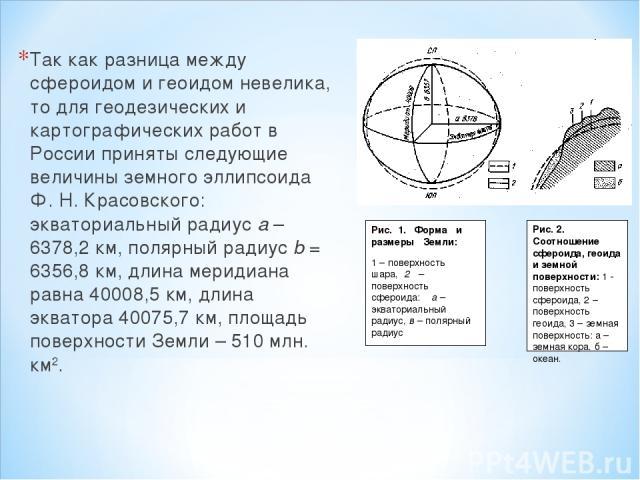 Так как разница между сфероидом и геоидом невелика, то для геодезических и картографических работ в России приняты следующие величины земного эллипсоида Ф. Н. Красовского: экваториальный радиус а – 6378,2 км, полярный радиус b = 6356,8 км, длина мер…