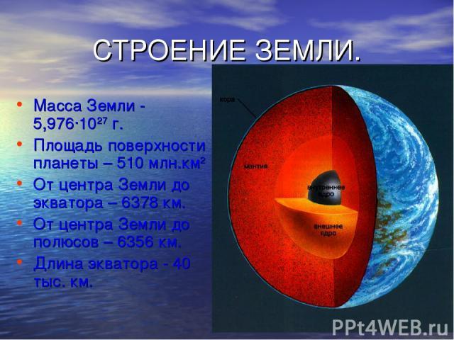 СТРОЕНИЕ ЗЕМЛИ. Масса Земли - 5,976·1027 г. Площадь поверхности планеты – 510 млн.км2 От центра Земли до экватора – 6378 км. От центра Земли до полюсов – 6356 км. Длина экватора - 40 тыс. км.