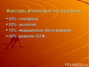 Факторы влияющие на здоровье. 20% -генофонд. 20% -экология. 10% -медицинское обс
