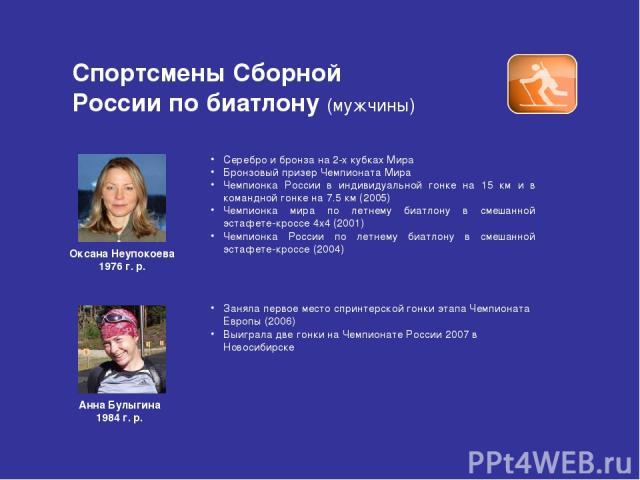 Анна Булыгина 1984 г. р. Спортсмены Сборной России по биатлону (мужчины) Заняла первое место спринтерской гонки этапа Чемпионата Европы (2006) Выиграла две гонки на Чемпионате России 2007 в Новосибирске Оксана Неупокоева 1976 г. р. Серебро и бронза …